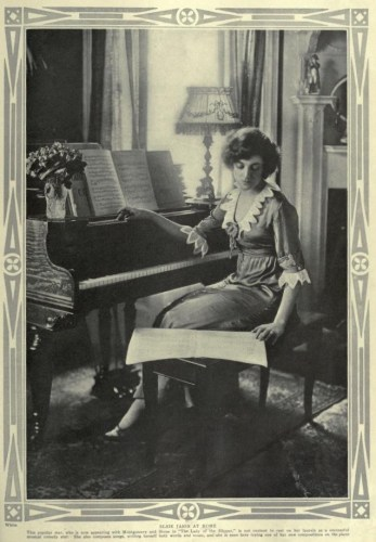 """Elsie Janis (Beerbower) in the April, 1913 magazine, """"Theatre""""- 'At Home' section. There, Vol. 17, No. 146, Page 225, via Archive.org."""
