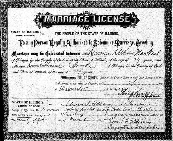 Marriage License of Hermon Atkins MacNeil and Carol Louise Brooks issued on December 24th, 1895 and completed on Christmas Day 1895 by Rev. Edward F. Williams, Congregational Minister.