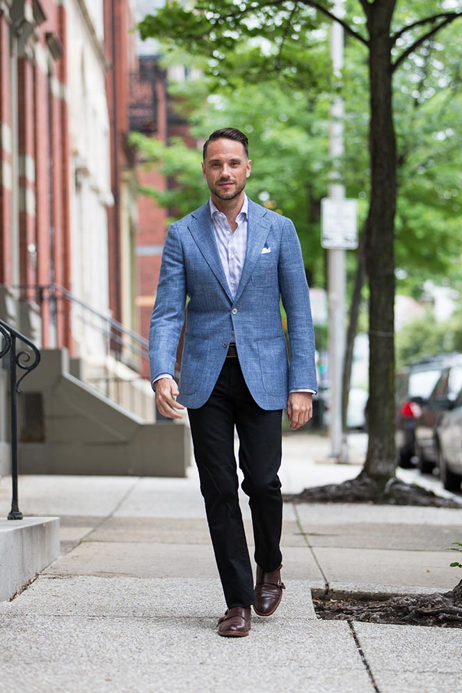 Light Blue Suitsupply Linen Blazer - He Spoke Style