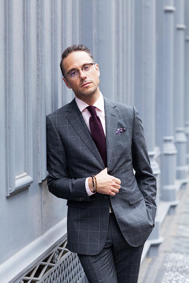 Gray Windowpane Suit for Business - He Spoke Style