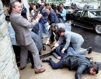 Secret Service agents just after the assassination attempt on US President Ronald Reagan