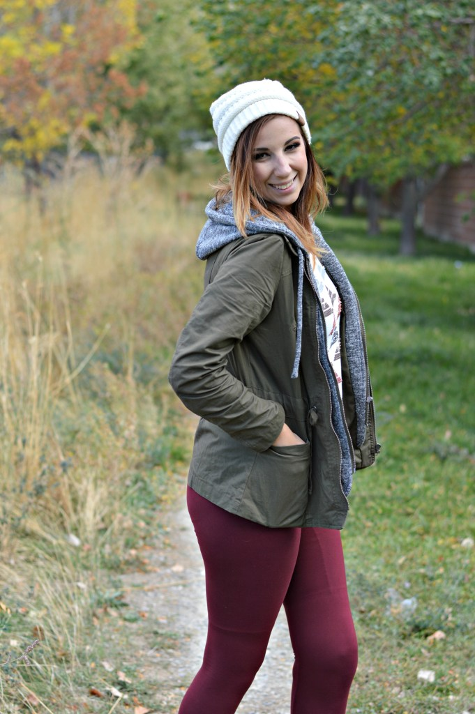Fall Outfit: Maroon Leggings, Army Jacket, Layers and white beanie with combat boots // Hey There, Chelsie