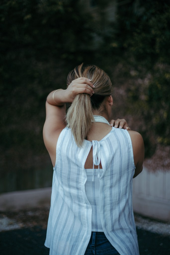 White Split Back Top