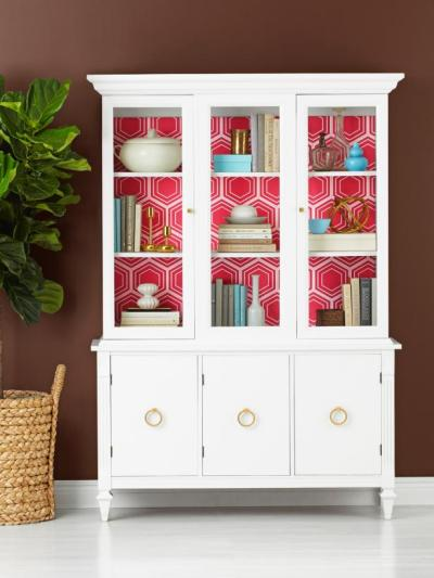 How to Wallpaper the Inside of a China Cabinet | HGTV