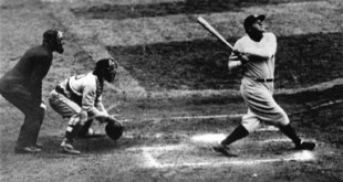 New York Yankees' Babe Ruth clouts a towering home run in this undated photo. San Francisco Giants' Barry Bonds moved within one home run of tying Babe Ruth on baseball's career home run list at 714. Hank Aaron holds the all-time record with 755 home runs. (AP Photo)