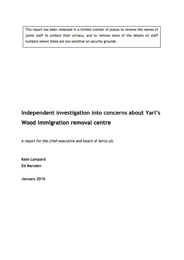 Independent investigation into concerns about Yarl's Wood immigration removal centre