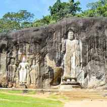 Rock with buddhas in Sri Lanka