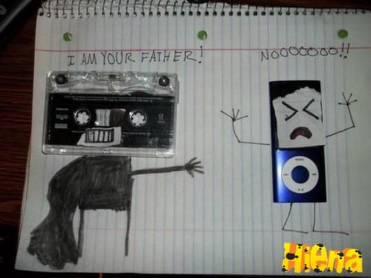 """fita cassete falando pra mp3 player """"eu sou seu pai"""""""