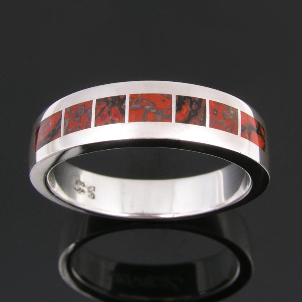 sterling silver dinosaur wedding band Sterling silver ring inlaid with gem dinosaur bone