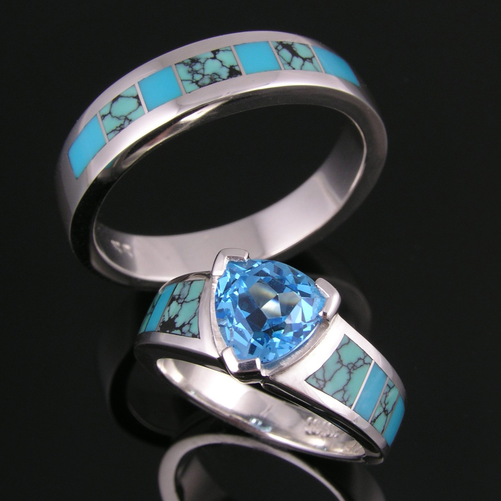 turquoise jewelry turquoise wedding bands Spiderweb turquoise and turquoise wedding ring set by Hileman Silver Jewelry