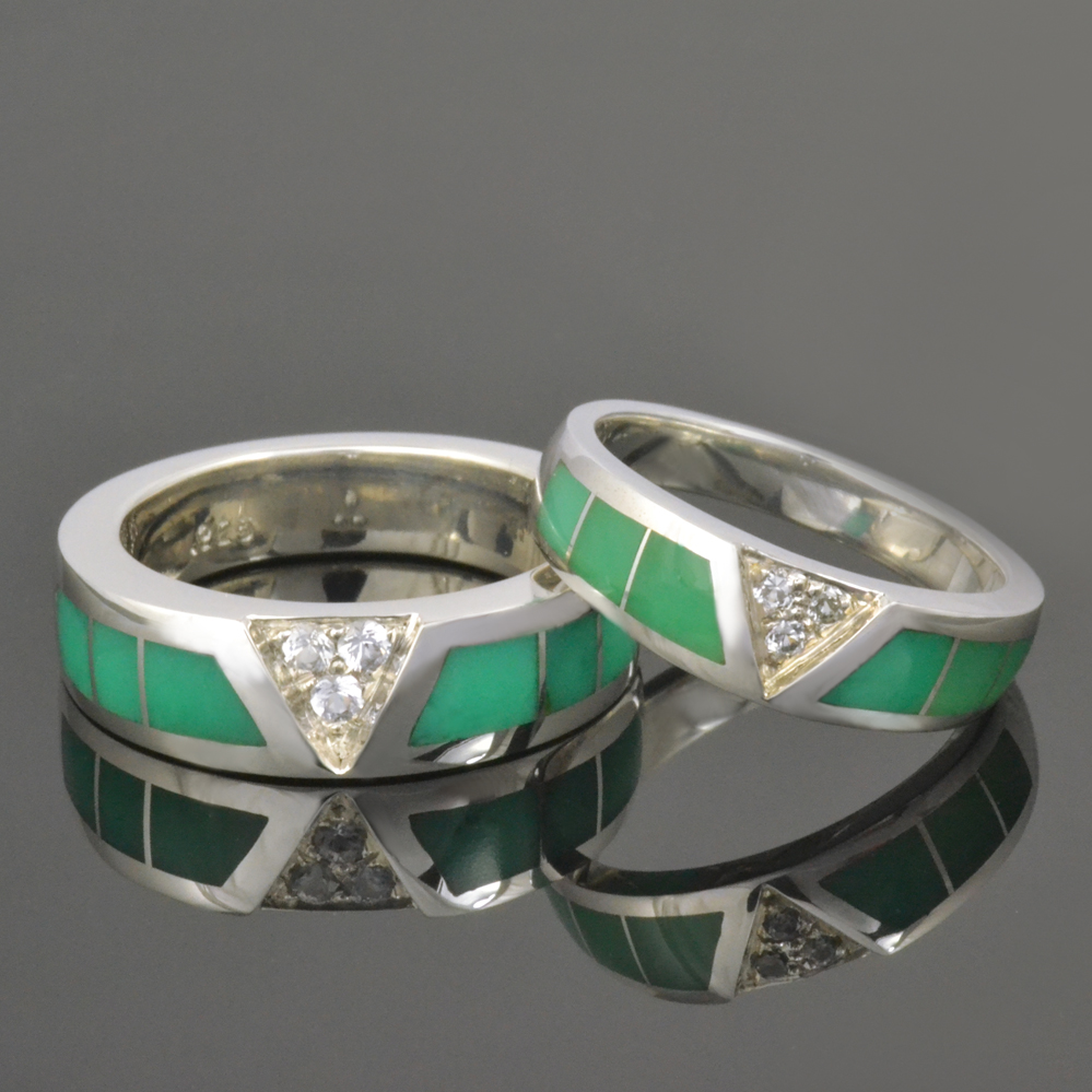 new chrysoprase wedding ring set dinosaur wedding band Chrysoprase wedding ring set with pave set white sapphire in sterling silver