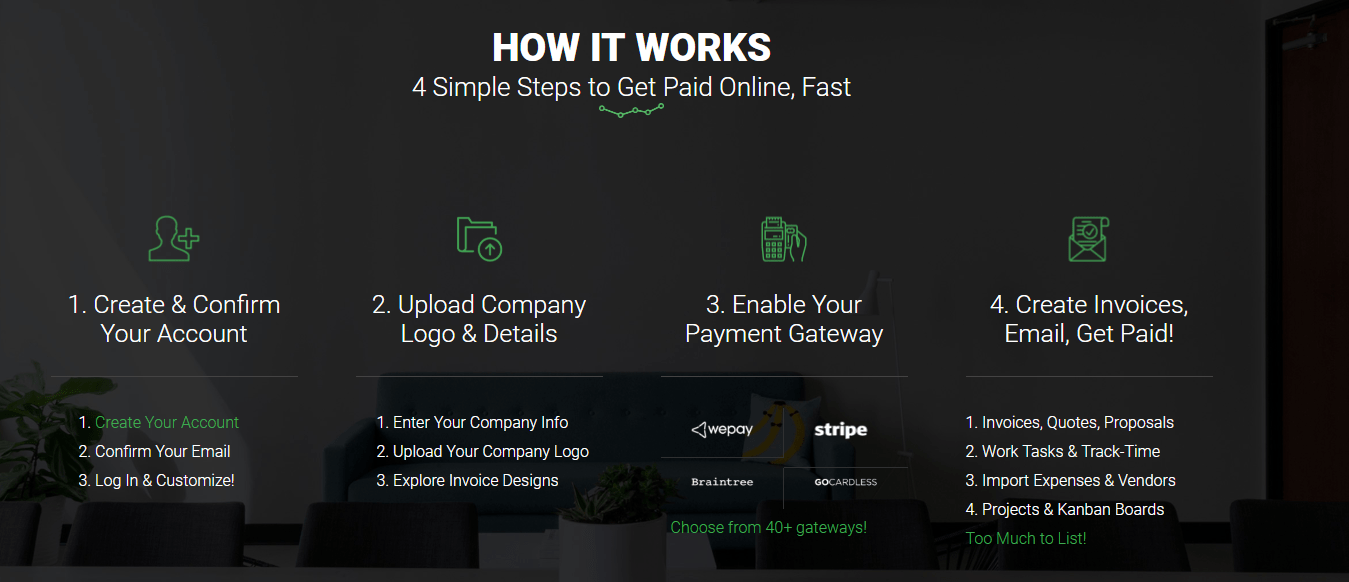 Online Bill Pay   Client Portal   Hill Bridge Design Invoice Ninja Dashboard     Try it for Free