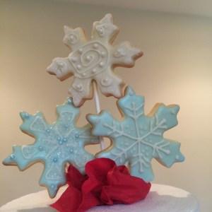 snowflake cookies on stick