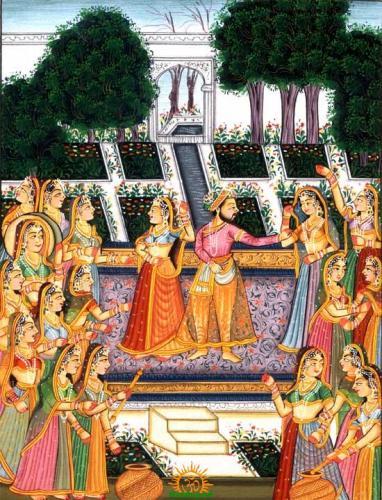 shahista-khan-playing-holi-ancient-painting