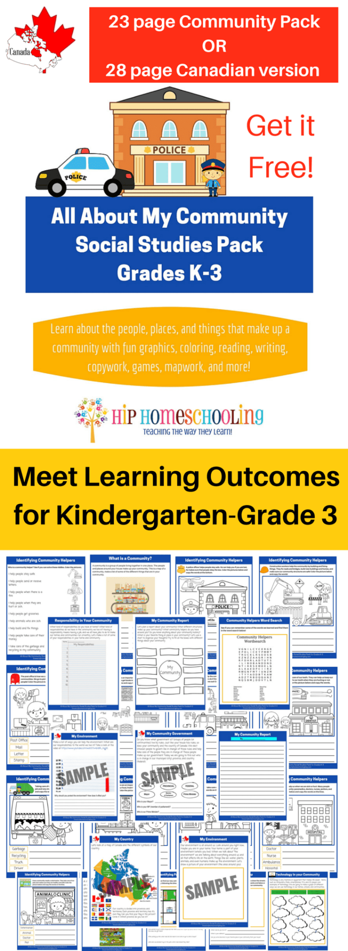 All About My Community Social Studies K-3 Printable Pack - Would be great little kids!
