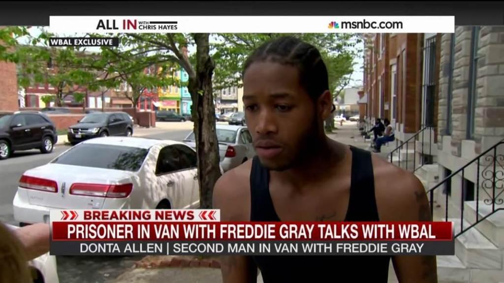 Prisoner in van with Freddie Gray speaks out | MSNBC