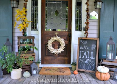 40 Fall Porch Decorating Ideas   Ways to Decorate Your Porch for Fall fall porch decorating ideas chalkboard sign