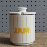Hornsea Pottery Yellow Stripe jam pot