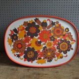 Orange floral serving tray