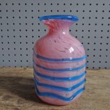 Vintage pink and blue Mdina art glass vase