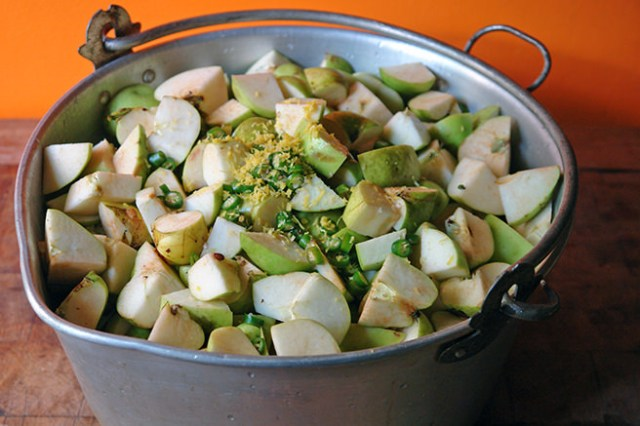 Chopped apples, chilli and lemon zest