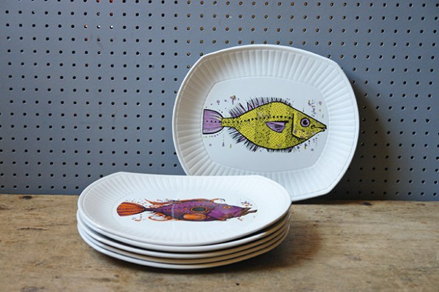 Stacked set of vintage Aquarius fish plates | H is for Home
