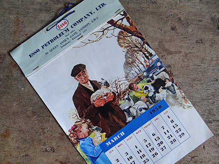 Vintage Esso wall calendar from 1958