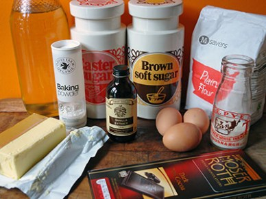 Home-made brownie butter cake ingredients