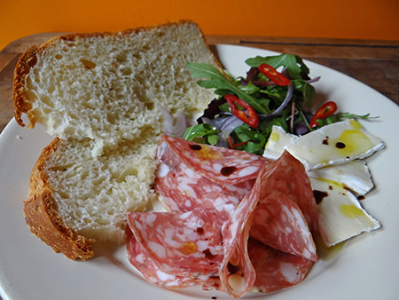 Slices of crescia with salami, cheese and salad | H is for Home