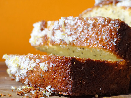 close up of sliced lemon & poppy seed loaf | H is for Home