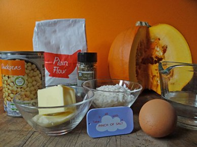 cumin-spiced pumpkin chickpea pie ingredients