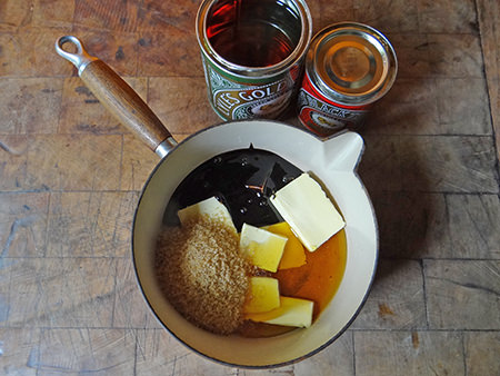 butter, sugar and syrups in a saucepan