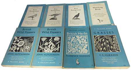 Vintage Collection of Pelican Books on bird watching and wild plants & flowers for sale by & in support of Dorothy House Foundation