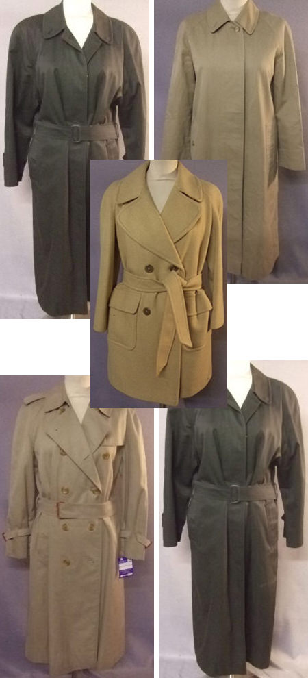 selection of vintage trench coats for sale by & in support of Sense
