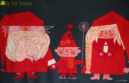 vintage Christmas textile hanging with illustration by Herbert Leupin