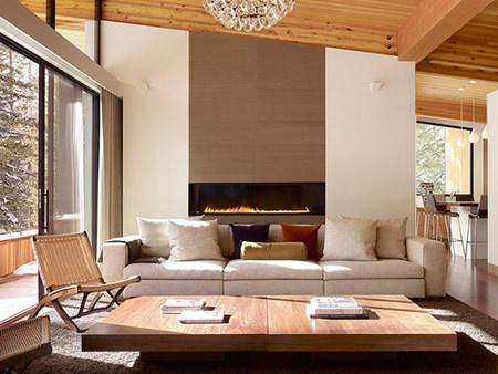 Long narrow gas fire in an open-plan sitting room