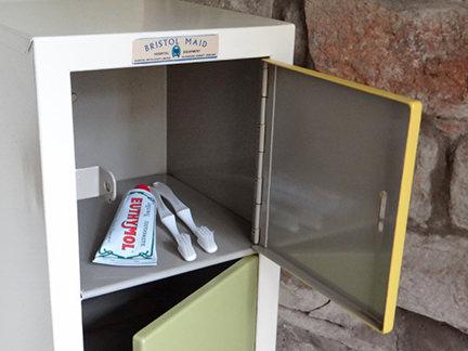 open door on vintage Bristol Maid Hospital Equipment locker