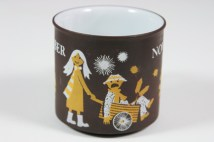 "detail from a vintage ""November"" mug produced by Hornsea Pottery showing a girl pushing a wheelbarrow holding a guy on Fireworks Night 