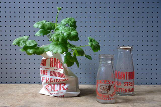 Geranium inside a vintage flour bag with vintage milk and cream bottles | H is for Home
