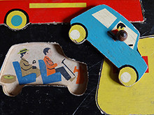 Detailed view of vintage Galt Toys puzzle game showing the car | H is for Home