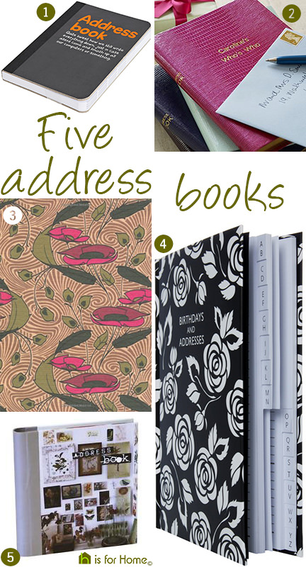 selection of 5 address books | H is for Home