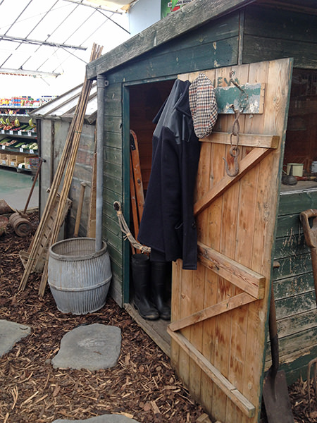 Garden shed, part of the garden centre's 70th anniversary allotment installation