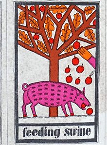 'Feeding swine' vintage Habitat kitchen card