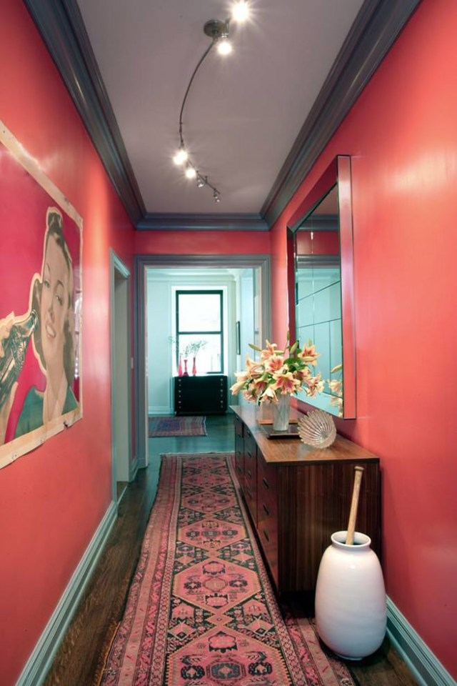 Coral and teal painted hallway