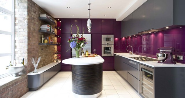 Modern kitchen with purple painted walls and matching Kitchenaid food processor