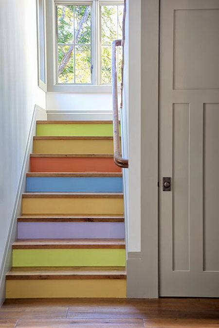 Sugared almond colour painted stair risers