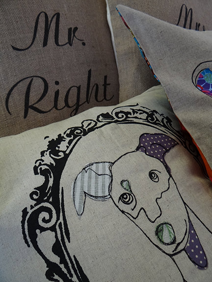 Mr Right and appliqué dog cushions