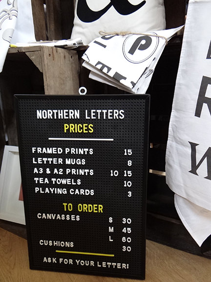 Northern Letters' price list