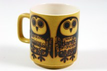 vintage Hornsea Pottery mug with newsprint owls