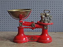 vintage red Viking kitchen scales